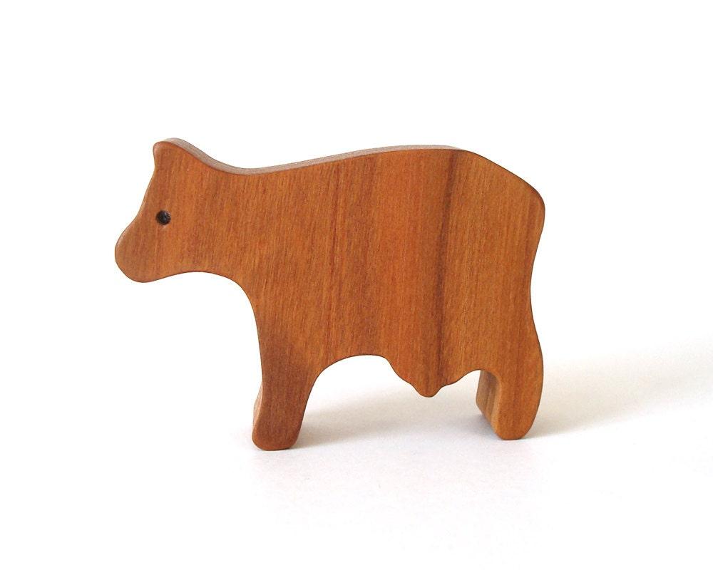 Small Toy Cows : Small wooden cow toy waldorf wood country farm animal