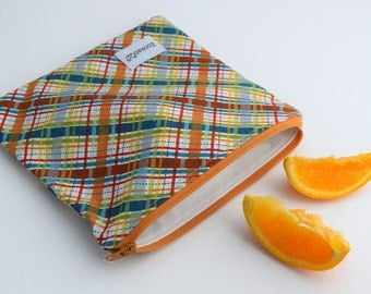 Eco Friendly Bag, Reusable Sandwich Bag, Plaid Bag, Wipeable Reusable Bag, Handmade, Ready to Ship