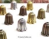 Bead Caps, Trumpet Flower Beads, Choose Antique Silver, Copper, Gold or Bronze, 10x10mm, 2mm hole, 8mm Inside, Lot Size 8 to 40, #2020