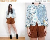 Sale Vintage Floral Frill Western Bow Tie Blouse Shirt Top Jacket