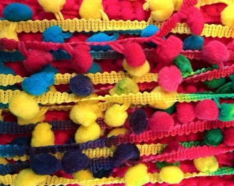 Bright Rainbow large Pom pom trim