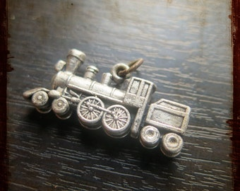 Antique French 3D Train Engine Medal Pendant Charm - Vintage Jewelry pendant from France