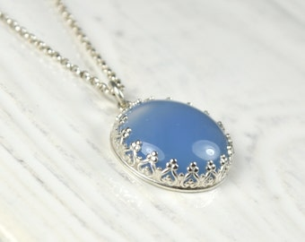 Translucent Blue Chalcedony Stone Pendant