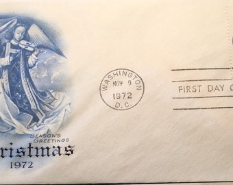 "Christmas 1972 with detail from ""Mary Queen of Heaven"" USPS First Day Issue Cover"