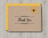 Honey Bee Thank You Card - Printable - INSTANT DOWNLOAD
