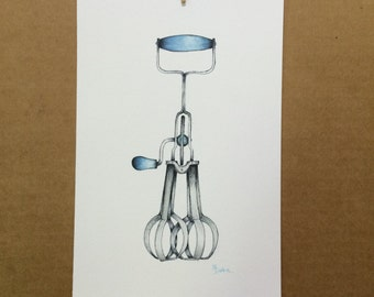 Watercolor/Ink-Egg Beater