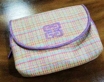Just turned vintage 90s Purple Pink GIVENCHY PURSE - Cosmetics Pouch - mirror inside - purchased in Macau's Duty Free shop - not a free gift