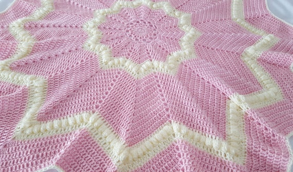 Hand crocheted soft pink and white star baby blanket, baby afghan, newborn baby shower gift