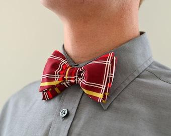 Men's Bow Tie in Maroon and Gold- freestyle wedding groomsmen custom bowtie neck self tie cranberry red metallic plaid white