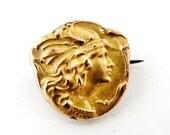 French antique art nouveau FIX gold filled Mercury and mistletoe brooch.