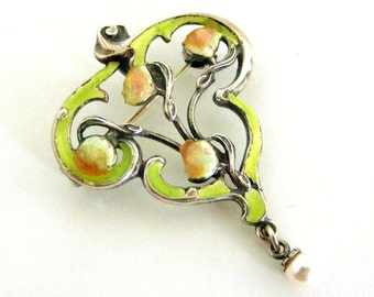 Vintage sterling silver enamel and pearl pendant/brooch