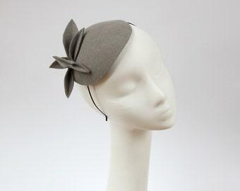 Grey Wool Felt  Fascinator, Mini Hat
