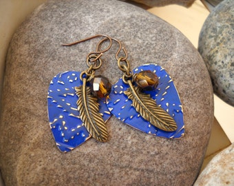 Vintaj Lapis Patina Navajo Textile Embossed Natural Brass Guitar Pick with Antique Brass Feather  Wire Wrapped Blue Amber Czech Glass Beads