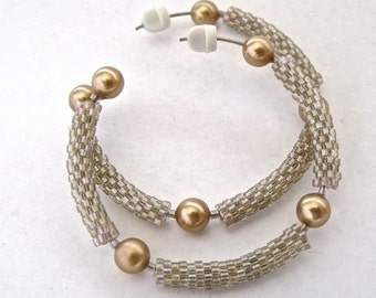 Gold, beige hoop earrings, bead beige earrings, gold glass pearl earrings, woven bead beige jewelry, beaded hoop earrings, gift idea for her