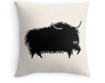 "THE YAK - illustrated Cushion Cover / Throw Pillow (16"" x 16"") by Oliver Lake - iOTA iLLUSTRATiON"