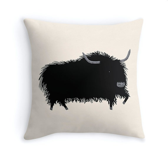 "THE YAK - illustrated Cushion Cover / Throw Pillow (16"" x 16"") by Oliver Lake"