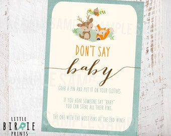 WOODLAND Baby Shower Game Don't Say Baby! Fox Deer Woodland Baby Shower Game Printable Game Fox Deer