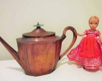 Copper Tea Pot, Art Deco Style, Bakelite Handle, Vintage, Antique