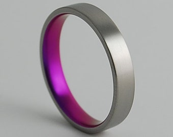 Wedding Band , Titanium Ring , Apollo Band in Sunset Purple