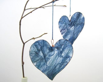 Heart Hanging Decoration in beautiful blue silk fusion and copper wire