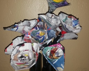 12 paper flowers recycled upcycled magazines roses wedding holiday mother's day decor
