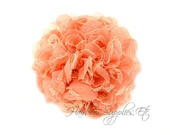 Coral Petite Lace Chiffon Flowers 3.5 inch - Coral Shabby Flowers, Coral Fabric Flower, Coral Chiffon Flower, Coral Flowers for hair