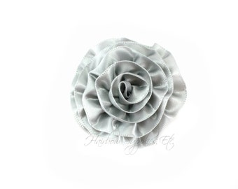 Gray Rose Ruffle Silk Flowers 2 inch - Gray Flowers, Gray Hair Flowers, Gray Silk Flower, Gray Flowers For Hair, Gray Hair Accessories