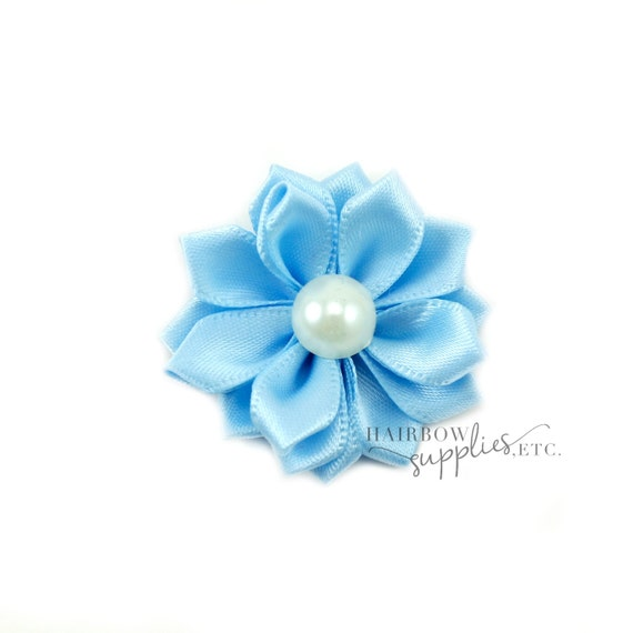 Light Blue Dainty Star Flowers with Pearl 1-1/2 inch - Light Blue Fabric Flower, Light Blue Silk Flower, Light Blue Hair Flower, Blue Flower