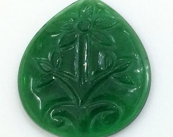 Green Glass Hand Carving, Mughal Carving, Hand Carved, Filigree Finding, Filigree Gemstone, Stone Carving, Focal Pendant