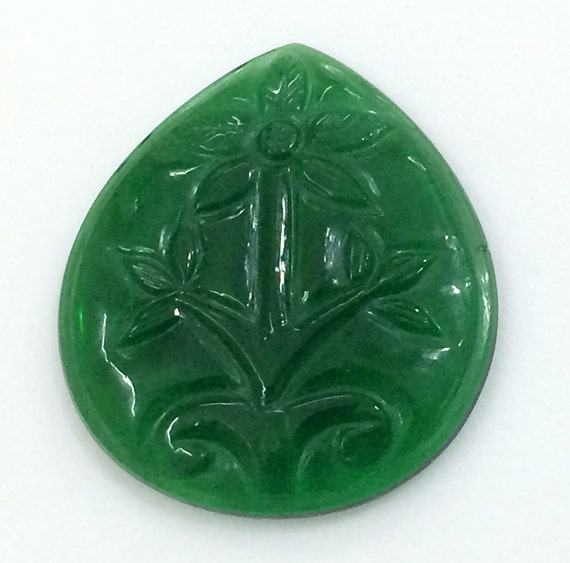 Carved Stone Glass : Green glass hand carving mughal carved