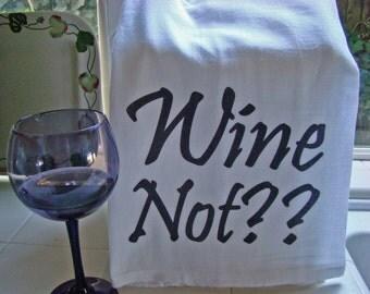 Wine theme tea towel - Funny wine theme kitchen towel - Wine lover gift - flour sack towel