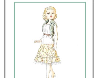 """PDF Download """"Cloudy Days"""" a LivelyStitch Design sewing and knitting pattern for the 16"""" Ellowyne Wilde doll by Tonner"""