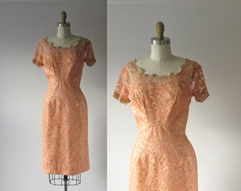 SALE vintage 1960s dress / 60s dress / Peach Cocktail