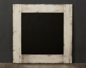 Distressed Wood Mirror White Painted Weathered Wood Square 24 X 24 Powder Room Mirror Farmhouse Mirror