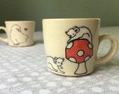 Toadstool and White Mice Espresso Cup - Handmade Tiny Mug