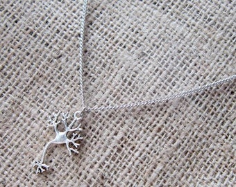 Neuron Nerve Cell Silver Necklace ~ Science Medical Geek Nerd Jewellery Jewelry