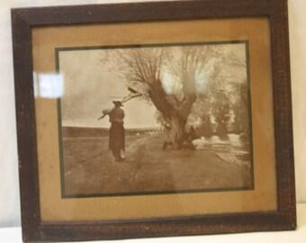 Antique Print Farmer Walking Down Path Near Stream w Rake Oak Frame Orig Glass