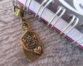 Rustic Crown Clip-On Charm Pure Bronze planner charm, purse/bag charm, Key fob, zipper pull antique bronze