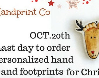 Personalized Footprint Ornament  - Personalized Baby Keepsake - Reindeer Footprint - New Baby Gift - Gift For Grandparents - New Mommy