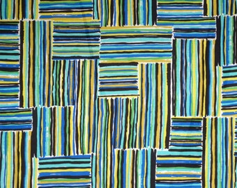 Green and Blue Abstract Geometric Print Linen Blend Fabric--By the Yard