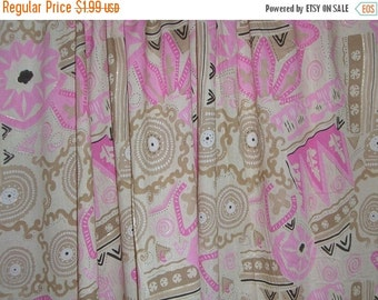 ON SALE REMNANT--Pink and Coffee Abstract Print Cotton Lawn  Fabric--22 Inches