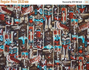 ON SALE SPECIAL--Totem Print Pure Cotton Fabric from Benartex--One Yard