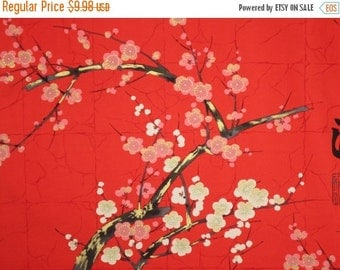 ON SALE Pink on Red with Metallic Gold Cherry Blossom Print Pure Cotton Fabrics--One Yard
