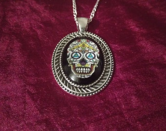 Handmade Black Day of the Dead Skull Cabochon Necklace.
