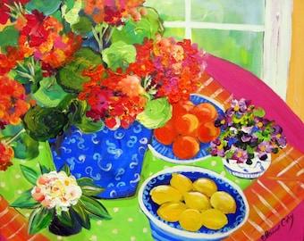 Geranium Still Life Original Painting on canvas 16 x 20 Art by Elaine Cory