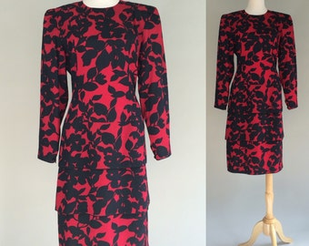 80s Maggie London Black and Red Dress / Vintage 80s Dress / Vintage 1980s Dress / Vintage Dress / Maggie London Dress / Vintage 80s / Dress