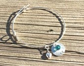 Personlalized Hand Stamped Sterling Silver Bangle Bracelet with Swarovski crystal and Heart charm - Gifts for Her - Valentine's Day