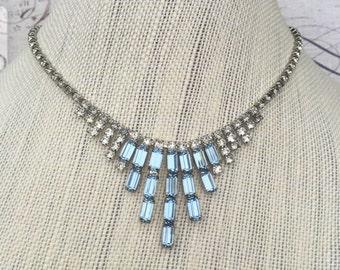 Vintage Blue Rhinestone Choker Bib Necklace, Hollywood Glamour Jewelry, Elegant Estate Jewelry