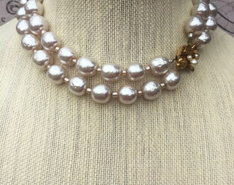 Vintage Signed Mariam Haskell Baroque Pearl Multi Strand Necklace, Haskell Jewelry,  Elegant Estate Jewelry, pearl Choker Necklace