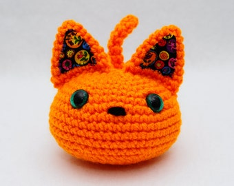 Furrball Kitty Cat by Lilac's Lovables - Bright Pumpkin Orange with Green Glitter Eyes Multi-colour Ears and Black Nose